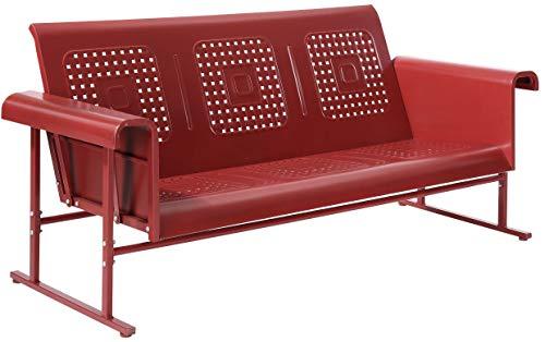 Crosley Furniture CO1028-RE Veranda Retro Outdoor Metal Sofa Glider, Coral Red