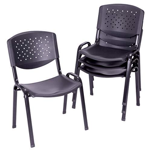 Preisvergleich Produktbild 4er Set Bürostuhl Konferenzstuhl Besucherstuhl schwarz LxBxH 48 x 54 x 79 cm Stapelstuhl Metallrahmen stabil Sitzfläche Kunststoff