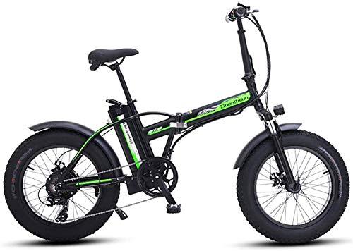 Leifeng Tower Alta Velocidad Bicicletas eléctricas rápidas for Adultos eléctrico de la Bici de 20 Pulgadas E-Bici de montaña 48V500W Bici Plegable eléctrica 4.0 Fat Tire Beach Ebike (Color : Black)