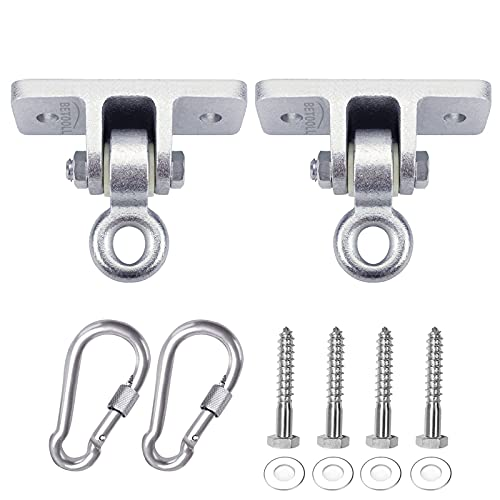 BETOOLL 10000lb Capacity Heavy Duty Swing Hangers for Wooden Sets Playground Porch Indoor Outdoor & Hanging Snap Hooks Silver Set of 2