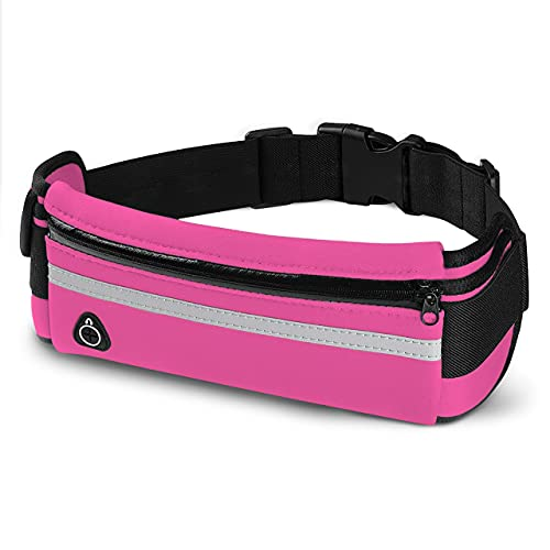 E Tronic Edge Waist Packs: Best Comfortable Running Belts for Hiking, Workouts, Traveling Money Belt - Unisex Fit for All Waist Sizes & All Phones (Pink)