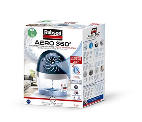Rubson AERO 360º Deshumidificador recargable sin cable, absorbe humedad, previene la condensación y los malos olores, antihumedad absorbente, dispositivo y tableta, 450 g