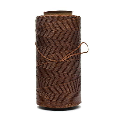 Hilo encerado plano de 1,0 mm 210D para coser a mano de cuero artesanía DIY (cobre perlado)