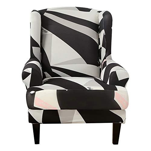 Printed Sloping Arm King Back Chair Cover Elastic Sofa Armchair Wingback Wing Hotel Chair Cover Stretch Protector Cover Black-1 Wing Back Slipcover