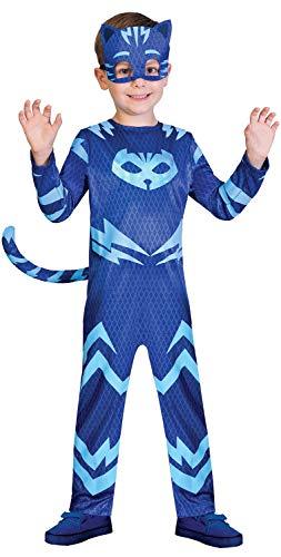 Kostüm für Jungen und Mädchen, Karneval, Party, Klassische PJ Maske, Catboy, TV-Buch, Film-Cartoon-Charakter, Blau, 2-8 Jahre