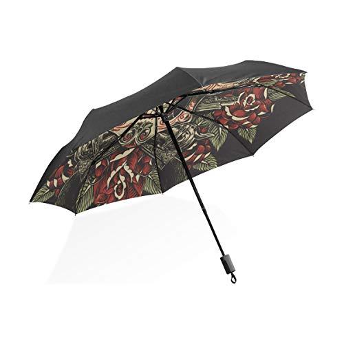 Bunte Regenschirme Für Frauen Schädel Rosen Revolver Tattoo Illustration Tragbare Kompakte Taschenschirm Anti Uv Schutz Winddicht Outdoor Reise Frauen Klaren Regenschirm