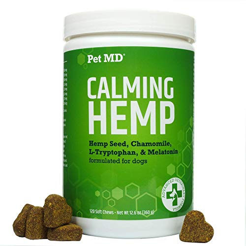Pet MD Calming Chews for Dogs - Dog Calming Treats with Hemp & Melatonin - Calming, Anxiety Relief, & Separation Relaxant with Chamomile &...