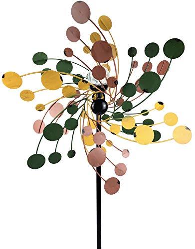 Crispe home & garden Metall Windrad 'Vintage' - Windspiel Windmühle für den Garten - wetterfest und standfest - mit besten Kugellagern - mit Dreibein und wahlweise Solarlampe - Höhe 185 cm