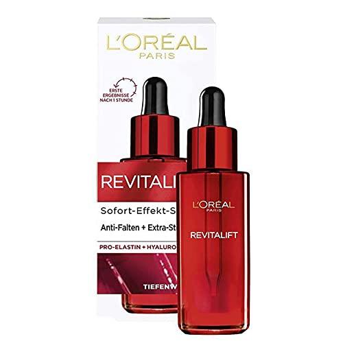 L'Oréal Paris Hyaluron Sofort Effekt Serum, Tiefenwirksame Anti-Aging Gesichtspflege zur Minderung von Falten, Mit Hyaluronsäure und Pro-Elastin, Revitalift, 1 x 30 ml