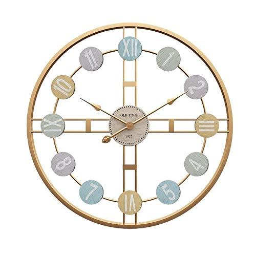 JSJJARD Reloj de Pared 3D nórdica Retro Reloj de Pared de Metal número Romano Bricolaje decoración de Lujo del Reloj de Pared for el hogar Living Bar Decoración del café silencioso Reloj Redondo