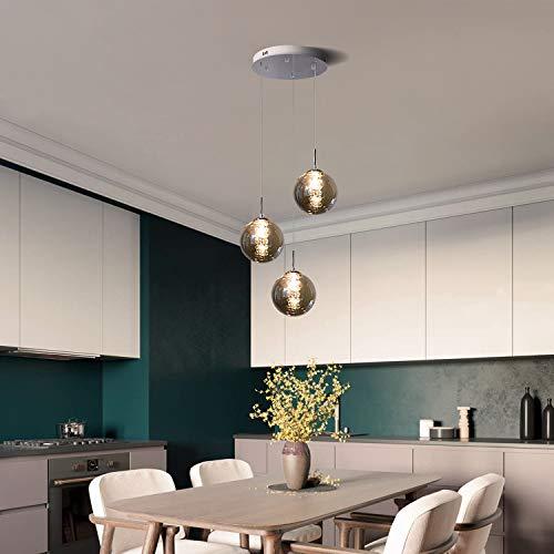 CBJKTX Pendelleuchte esstisch Pendellampe Höhenverstellbar Kronleuchter Hängeleuchte 3-Flammig aus Glas in Farbe Grau Küchen Wohnzimmerlampe Schlafzimmerlampe Flurlampe