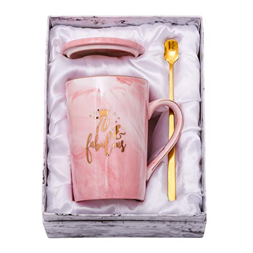 ShinnyWis 70 and Fabulous Mug - 70th Birthday Gifts for Women - 70th Anniversary Gift Idea for Women Her Wife Mom Grandma Sister BFF Friend 14oz birthday Mug