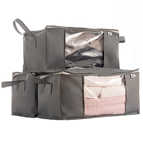 Sami Time Jumbo Clothes Blanket Storage Bags Organizer with Reinforced Handle-Set of 3,Foldable with Sturdy Zipper, Clear Window,23.62''17.72''11.81''
