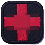 Zhikang68 Embroidered Medic Cross Tactical Patch First Aid Decorative Badge Appliques (Black)