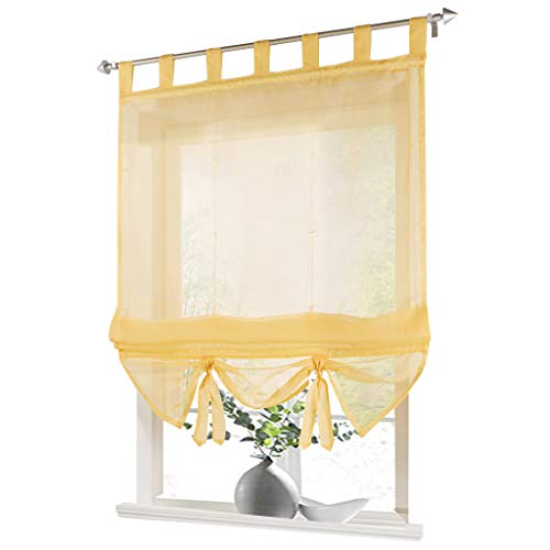 ESLIR Raffrollo mit Schlaufen Gardinen Küche Raffgardinen Transparent Schlaufenrollo Vorhänge Modern Voile Gelb BxH 60x155cm 1 Stück