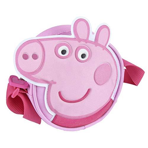 ARTESANIA CERDA Bolso Bandolera Peppa Pig  Mochila para Niñas  Negro    5x14x14 cm