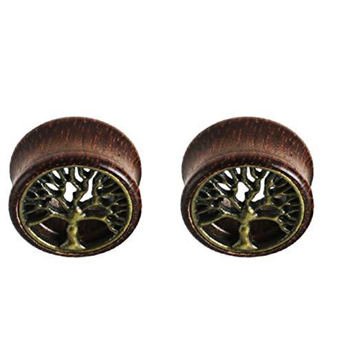 KEXQKN Moda 1 par de Madera Nueva oído de la joyería Pendientes medidores enchufes Hombres Mujeres túnel de la Carne Expander Piericing Camilla Body Piercing Pendientes Sencillos