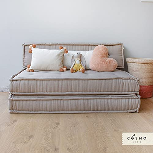 COSMO KIDS - Sillón Plegable Infantil - Ideal para Lectura o Descanso de los Niños - Modelo Cookie Matrimonial Color Beige