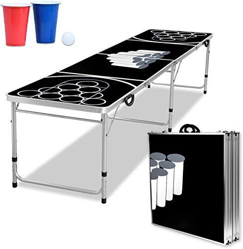 Froadp Beer Pong - Juego de mesas para beer pong (100 vasos (50 rojos y 50 azules), 5 pelotas, pong de cerveza, altura regulable), color negro