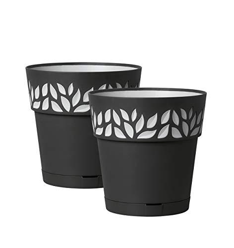 Kreher 2 Stück Pflanztöpfe CLOE Hochwertiges 3D-Design in leicht Matter Ausführung mit integrierten Wasserspeicher (L, Anthrazit)
