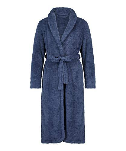 HUNKEMÖLLER Langer Fleece-Bademantel für Damen Blau M/L