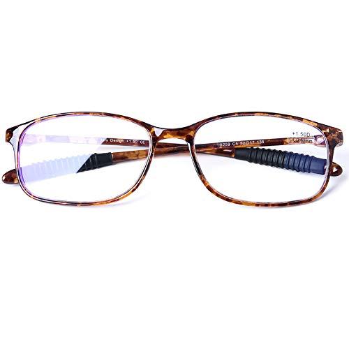 DOOViC Blaulichtfilter Computer Lesebrille Braun Schildkröte/Eckig Rahmen Leichte Brille/Lesehilfe/Sehhilfe mit Stärke für Herren 1,5