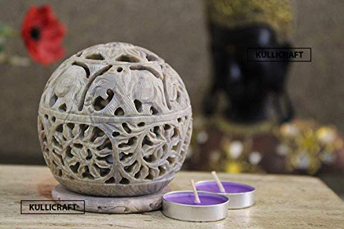Carry Me Small Indian Hand Carved Soapstone Elephant Tea Light Candle Holder/Wax Burner Spheres Shaped with Intricate Tendril Openwork Decorative Lantern for Home/Kitchen Decor.
