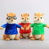 Movie Toys Alvin and The Chipmunks Plush Dolls Cute Chipmunks Stuffed Toys Kids Gift 9' 22 cm 3 Pieces