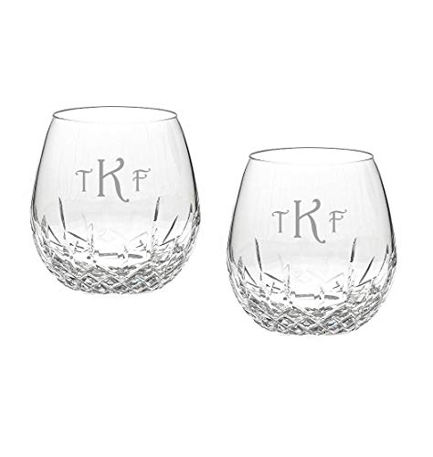 Waterford Lismore Essence Personalized Stemless Light Red Wine Glasses, Set of 2 Custom Engraved Stemless Crystal Glasses for Red Wine