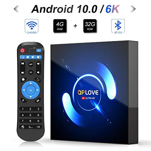 QPLOVE Android 10.0 TV Box 4 GB RAM 32 GB ROM H616 Quadcore Cortex-A53 Mali-G31 Supporto 6K 3D 1080P 2.4GHz WiFi H.265 Smart TV Box