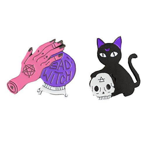 Aisoway 2 Stück/Set Bad Witch Nadelkristallball Handgemachte Schwarze Katzen-schädel Retro Emaille-brosche Abzeichen Dekorative Cowboy Halloween Schmuck