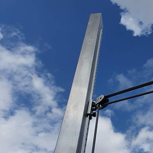 Preisvergleich Produktbild Toldoro Sonnensegelmast 3m 80x80mm Wandung 3mm Höhenverstellbar Edelstahl V2A Quadratrohr