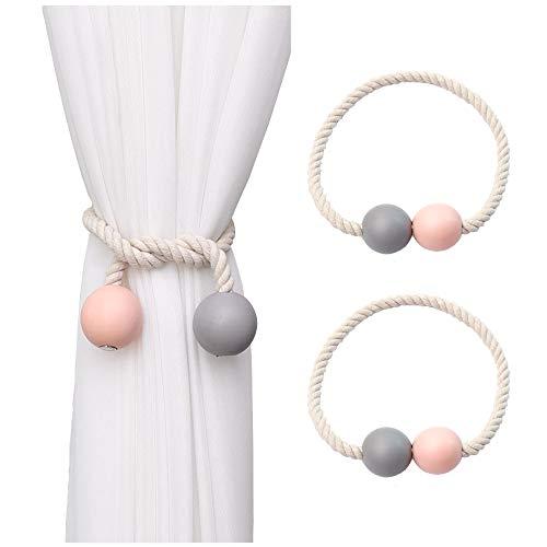 Hggzeg - Sujetadores magnéticos para cortina, 2 piezas, hebillas de madera para el hogar, oficina, hotel, ventana, decoración (rosa + gris)