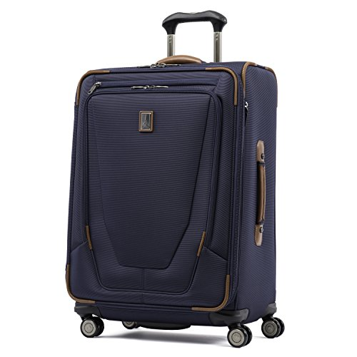 Travelpro Crew 11-Softside Expandable Luggage with Spinner Wheels, Patriot Blue, Checked-Medium 25-Inch