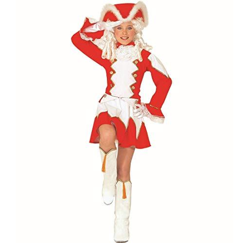NET TOYS Tanzmariechen Kostüm für Kinder | Rot-Weiß in Größe 128, 5 - 7 Jahre | Zauberhafte Mädchen-Verkleidung Garde-Kostüm Funkenmariechen | Glanzpunkt für Fasching & Karneval