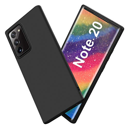 Ylife Hülle Kompatibel mit Samsung Galaxy Note 20(5G) Matt Schwarz Silikon Handyhülle Ultra Dünn Black Weich Schutzhülle Stoßdämpfend Fallschutz rutschfest Hülle für Samsung Note 20(5G)