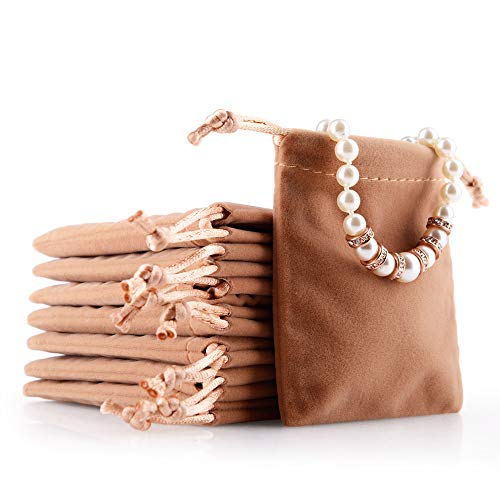 Oirlv Bolsa de joias de veludo pequenos acessórios colecionáveis com cordão bolsas de exibição para festa de casamento, Coffee, 1