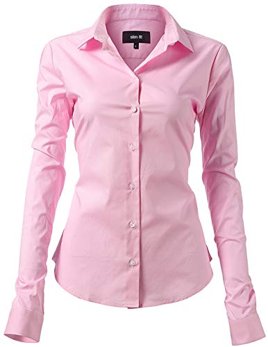INFLATION Damen Hemd mit Knöpfen Bluse Langarmshirt Figurbetonte Hemdbluse Business Oberteil Arbeithemden Rosa 41/12