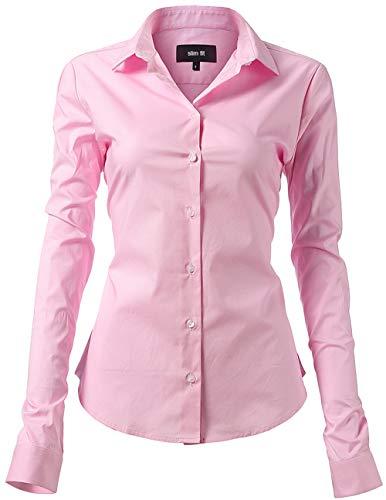 INFLATION Damen Hemd mit Knöpfen Baumwolle Bluse Langarmshirt Figurbetonte Hemdbluse Business Oberteil Arbeithemden Rosa 40/14
