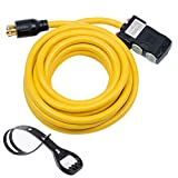 Yodotek 25Ft Generator Cord with Surge Protector Breaker,Heavy Duty Generator Locking Cord,NEMA L14-30P/Four 5-20R,4 Prong 10 Gauge Flexible Cable,Power Extension Cord, 30Amp 7500 Watts