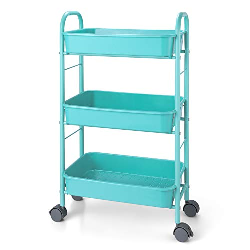 Simple Trending 3-Tier Metal Rolling Storage Cart, Utility Organizer Cart Storage Shelves with Plastic Basket on 2 Lockable Wheels for Kitchen Bathroom, Blue