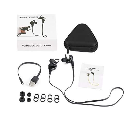 CloverGorge Auriculares Auriculares Inalámbricos Auriculares Deportivos con Micrófono de Bajo, Negro