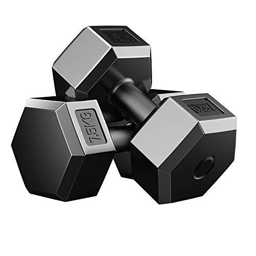 OVER SPORT Mancuernas Hexagonales para Gimnasio o Hacer Deporte en Casa - Kit de 2 Pesas de 2,5kg / 5kg / 7,5kg / 10kg para Hacer Ejercicios de Fitness en casa
