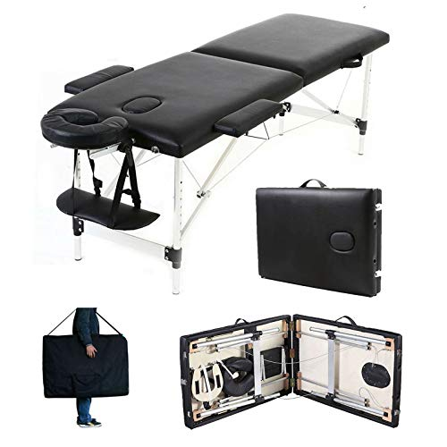 Massagetisch Höhenverstellbar Massageliege Massagebank Mobile Kosmetikliege Klappbar Leicht Tragbar 2 Zone Aluminium-Füßen mit einer Tragetasche (bis 230kg belastbar) -Schwarz