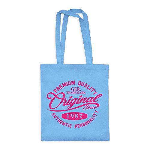 MDMA Shopper Cotton Bag Original Since 1982 Handwriting Premium Quality Textil skyblue/Motiv neonpink - 42 x 38 cm