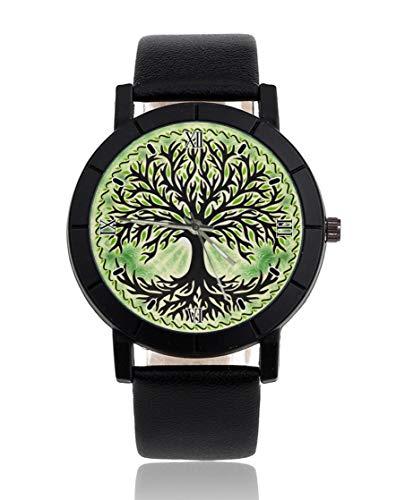 Green Tree Reloj personalizado personalizado Casual correa de cuero negro reloj de pulsera para hombres mujeres unisex relojes