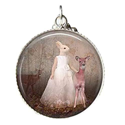 Conejo collar, cristal azulejos joyería Woodland Animal, conejo impresión