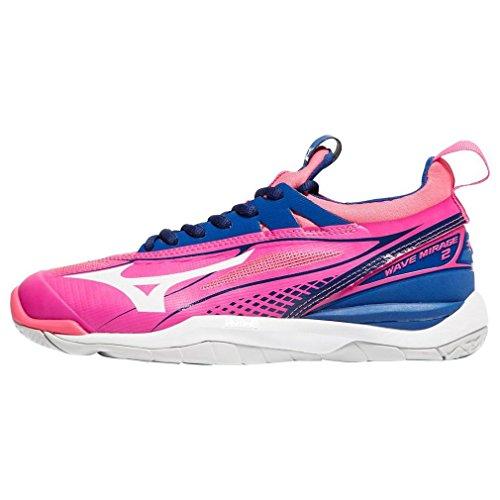 Mizuno Wave Mirage 2 Netball Women's Netball Shoe - PinkGlow/White/TrueBlue, 42.5