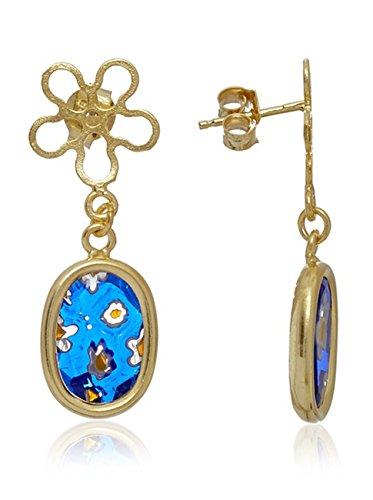 Córdoba Jewels   Pendientes en plata de Ley 925 bañado en oro. Diseño Flor Murano Montana Oro