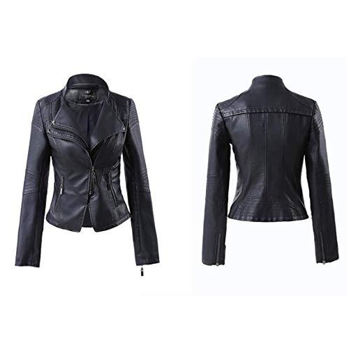 XL_nspiyi Damen Lederjacke Slim Mantel Stehkragen, 3XL, schwarz